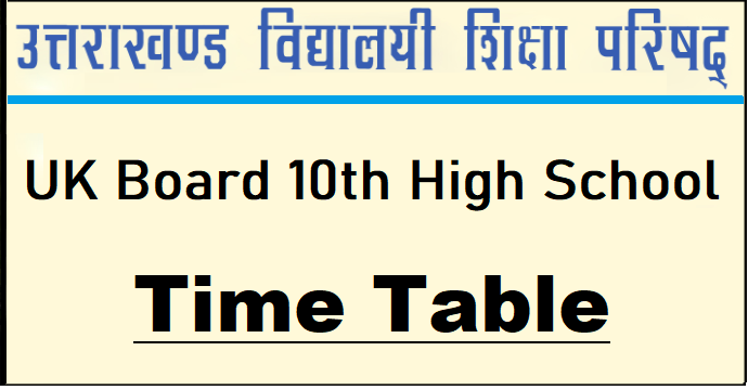 Uttarakhand board 10th TimeTable