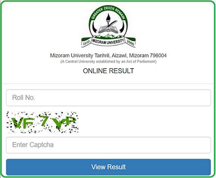 mizoram university result