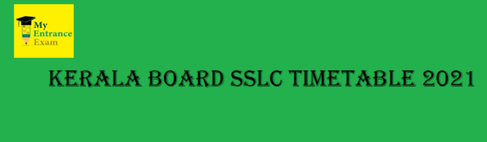Kerala Board SSLC Timetable