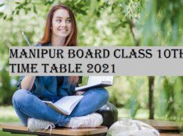 Manipur HSLC Class 10th Timetable