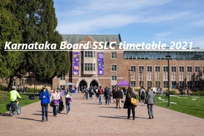 Karnataka Board SSLC timetable